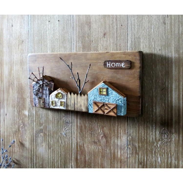 Деревянное панно для интерьера с домиками country house